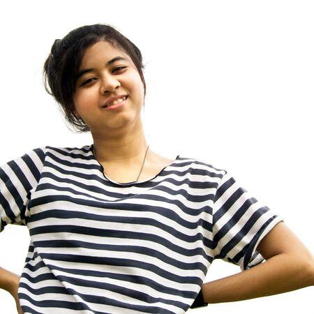 mani sui fianchi: Donna asiatica con le mani sui fianchi