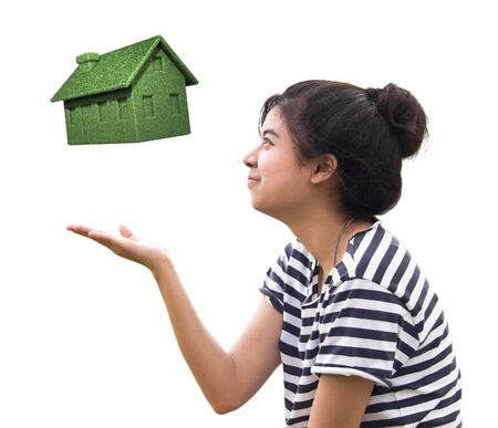 woman holding eco house,sustainable concept isolated on white. Stock Photo - 13053195