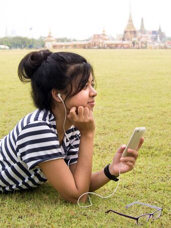 Listening to Music outdoor Stock Photo - 13177828
