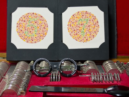 optometry lens, eyeglasses and color blind test