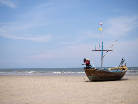 Boat on the beach, huahin, thailand Stock Photo