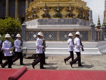 rajasuda: BANGKOK-MARCH 28  Soldiers prepare for the royal of cremation ceremony of HRH Princess Bejaratana Rajasuda at Emerald  Buddha Temple on March 28,2012 in Bangkok, Thailand