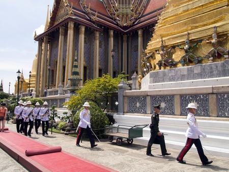 bejaratana: BANGKOK-MARCH 28  Soldiers prepare for the royal of cremation ceremony of HRH Princess Bejaratana Rajasuda at Emerald  Buddha Temple on March 28,2012 in Bangkok, Thailand