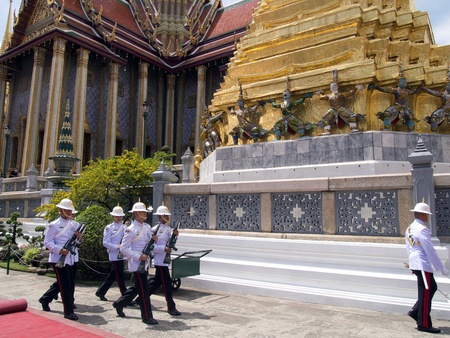 BANGKOK-MARCH 28  Soldiers prepare for the royal of cremation ceremony of HRH Princess Bejaratana Rajasuda at Emerald  Buddha Temple on March 28,2012 in Bangkok, Thailand