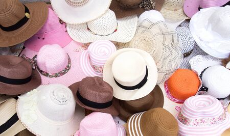 Various Fashion Hats From Top View in Market  Stock Photo - 13443349