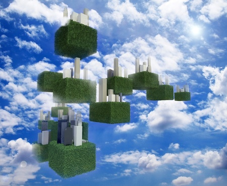 Future sky city in the cloudy sky. Stock Photo - 13508209