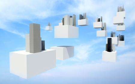 Buildings on white flying box in cloudy sky, Future sky city photo