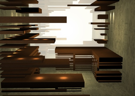 Empty Wooden Shelves In Store, Interior of Conceptual Retail Shop photo