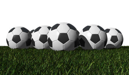worldcup: soccer balls on a green grass - white background