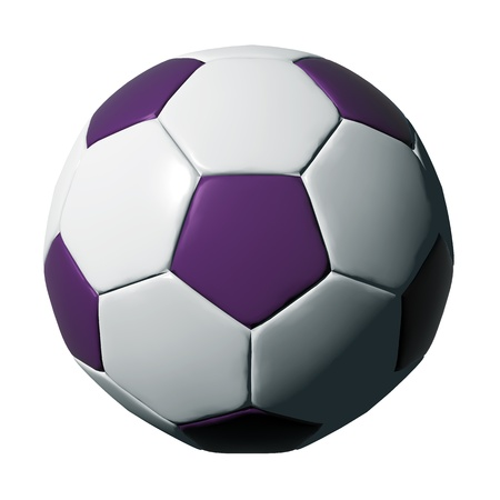 soccer balls: Purple leather soccer ball isolated on white background.