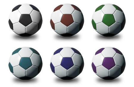High resolution Colorful 3D soccer balls isolated on white background  photo