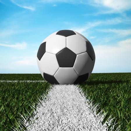 Nahaufnahme von Fußball auf dem Feld mit blauem Himmel Standard-Bild - 13897221