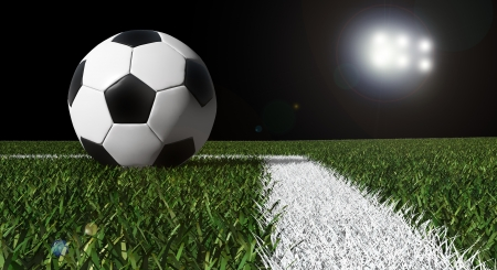 Soccer ball on the field of stadium with light  Stock Photo - 13897220
