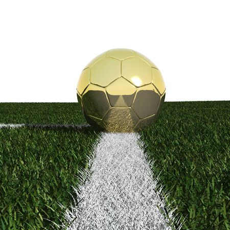 Golden soccer ball in the grass isolated on white background photo