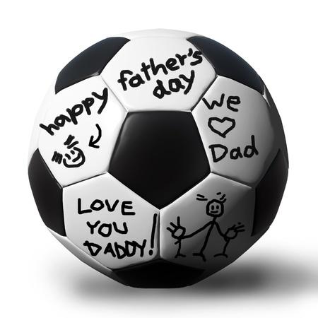 futbol soccer dibujos: De escritura a mano en un bal�n de f�tbol por su padre.