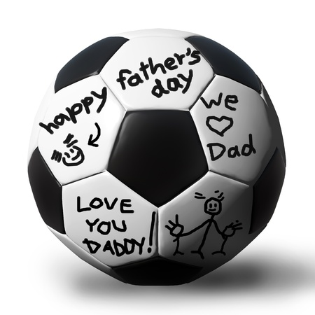 Handwriting on a soccerball for your father. photo