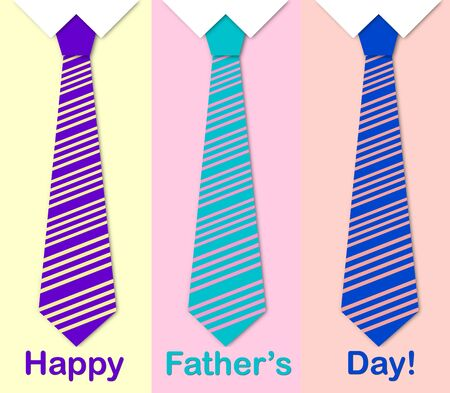 Happy Father's Day card with a pattern of colorful ties photo