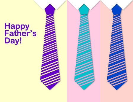 Happy Fathers Day card with a pattern of colorful ties  photo
