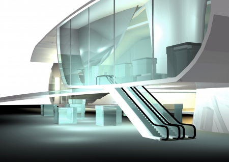 modern architecture 3d render, downtown photo
