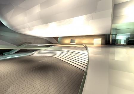 modern architecture rendered, interior of hall
