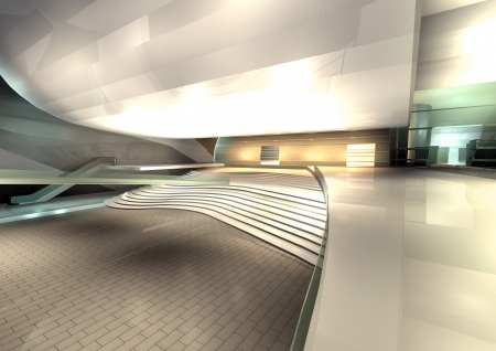 modern architecture rendered, interior of hall photo