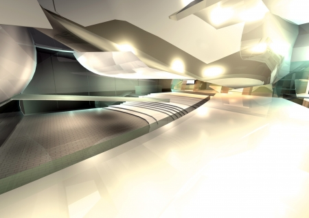 modern architecture 3d render interior of hall photo