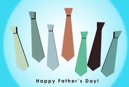 3D Happy Fathers Day card with a pattern of colorful ties on orange background photo