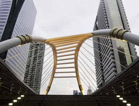 Pubic skywalk with modern buildings in business zone, bangkok, thailand