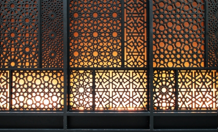 Abstract islamic pattern background, curved steel photo