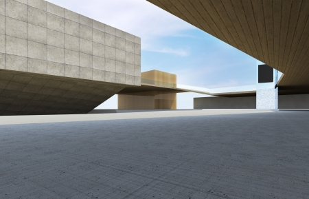 Modern building downtown, futuristic architecture.