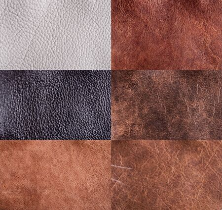 collection of leather textures set for background.