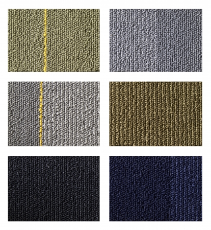 floor covering: Samples of collection carpet on a white background
