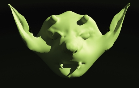 3D rendering of a portrait of monster face photo
