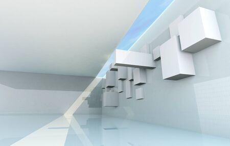 Abstract Architecture Concept, gallery interior Stock Photo - 15058377