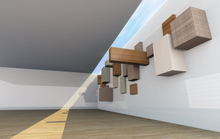 Futuristic Architecture, abstract gallery interior with empty wood shelfs photo