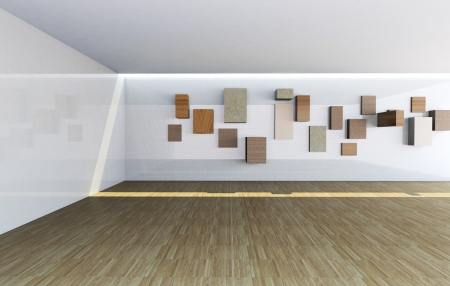 Futuristic Architecture, abstract gallery interior with empty wood shelves photo