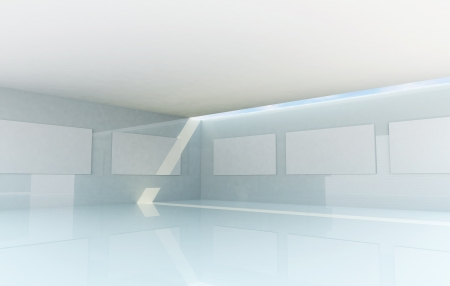 Rendering of Abstract Gallery Interior, futuristic architecture photo