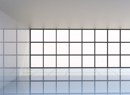 interior window: Empty white room , 3D Rendering Stock Photo
