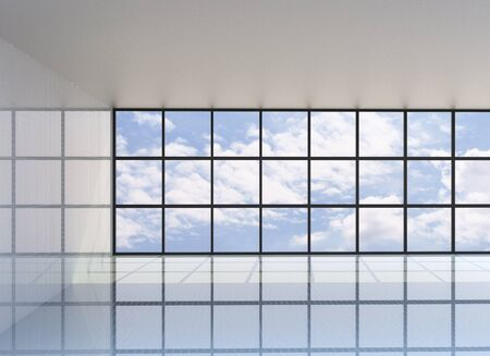 Empty room with the blue sky on the outside, 3D Rendering photo