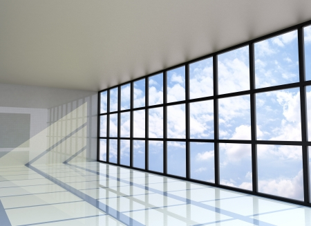 Empty room with the blue sky on the outside, 3D Rendering