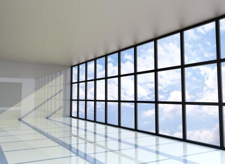 Leerer Raum mit dem blauen Himmel auf der Außenseite, 3D-Rendering Standard-Bild - 15058387
