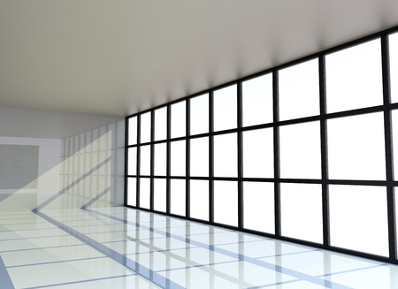 Empty white room with the window , 3D Rendering