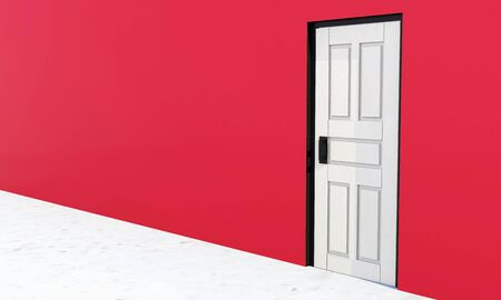 White vintage door in a red wall background photo
