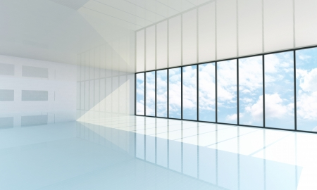 Empty white room with the large window, blue sky on background