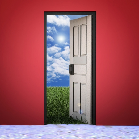 doorway: White door opened in grass to a nice sky background with white clouds