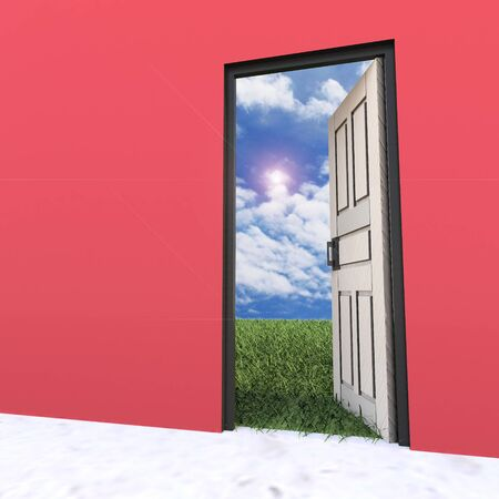 Open white door leading to beautiful clean nature with green grass and blue sky  photo