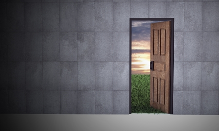 new way: Open door to new life  Hope, success, new life and world concepts  Stock Photo