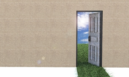 Door to new world  Hope, success, new life and world concepts  photo