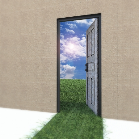 Open door to new life on the field  Hope, success, new life and world concepts  photo
