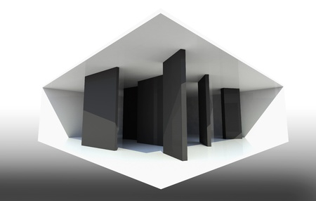 Abstract Interior Background with black partition photo